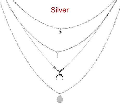 Multilayer Choker Horn Long Crescent Moon Pendant Necklace Chain Jewelry WomenPL