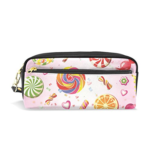 Lolly Pink Leather Student Pencil Case Cosmetic Bag Pen Makeup Pouch for Girl Boy