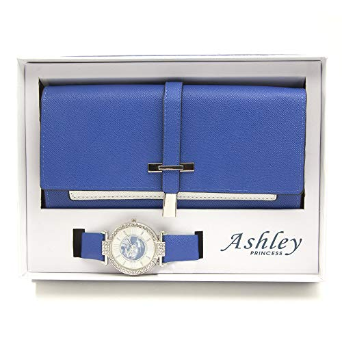 Women's Essentials - Matching Women's Watch & Colorful 2 Layer Design Wallet Gift Set - ST10234 Royal ()