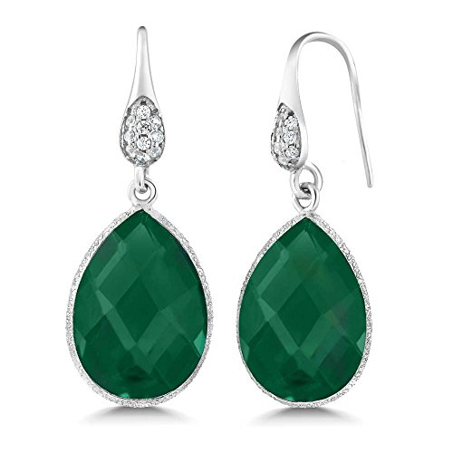 13.00 Ct Stunning Green Onyx Pear Shape 925 Silver Dangle (Green Pear Earrings)