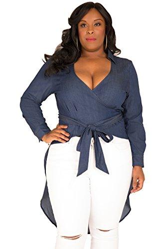 (Poetic Justice Plus Size Curvy Women's Fishtail Tencel Denim High-Low Wrap Shirt Size 3X)