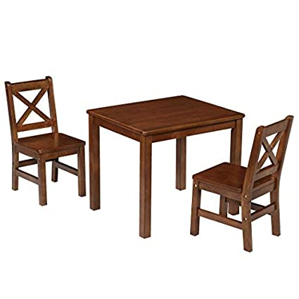 28a27d05949 Amazon.com  eHemco Kids Table and 2 Chairs Set Solid Hard Wood with X Back  Chair (Coffee)  Kitchen   Dining