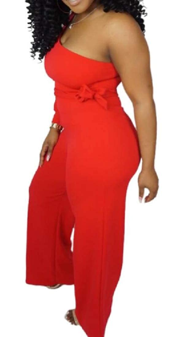 Womens One Shoulder Strapless Club Night Out Evening Party Jumpsuits