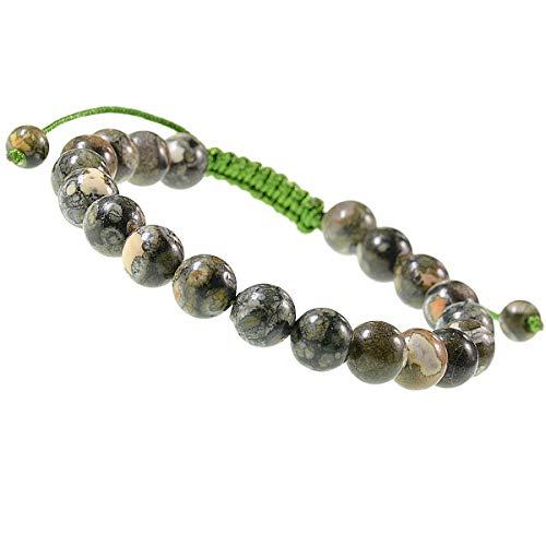 LPBeads Natural Reiki Healing Energy Gemstone Therapy Beads Macrame Adjustable Braided Link 8mm Unisex Bracelet (Rhyosite Jasper)