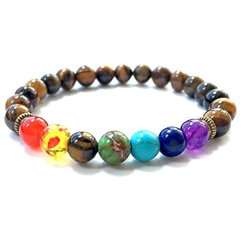 - ZHICHEN Tiger Eye Gem Beads 7 Chakra Natural Stone Yoga Bracelet Bangle Tibetan Buddhist Prayer Mala Bracelet with Free Bag (Yellow Tiger Eye)