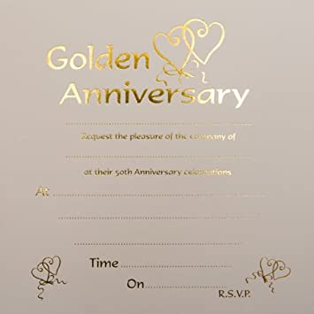 Golden Wedding Anniversary Invitations AmazonCoUk Office Products