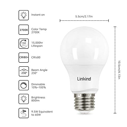 Linkind Dimmable A19 LED Light Bulbs, 60 Watt Equivalent, E26 Base, 2700K Soft White, 9.5W 800 Lumens CRI80+ 120V, UL… 2