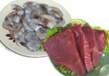 2 lbs. Yellow Fin Tuna Steaks and 2 lbs. Jumbo Shrimp