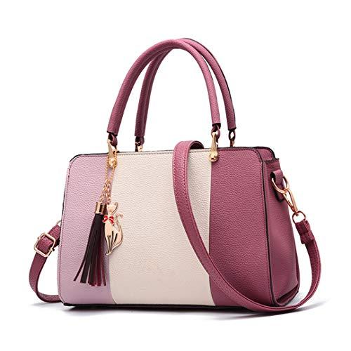 Tassel Cat Ornaments Women Totes Patchwork Handbag Party Purse Ladies Messenger Crossbody Shoulder Bags Purple 27x12x19 CM