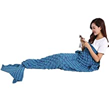 Mermaid Tail Blanket, NOT HOME® Warm and Soft Mermaid Blanket, Knitted Blankie Tails, All Seasons Cozy Sleeping Bags for Kids and Adults (Blue(74.86*35.46inch))