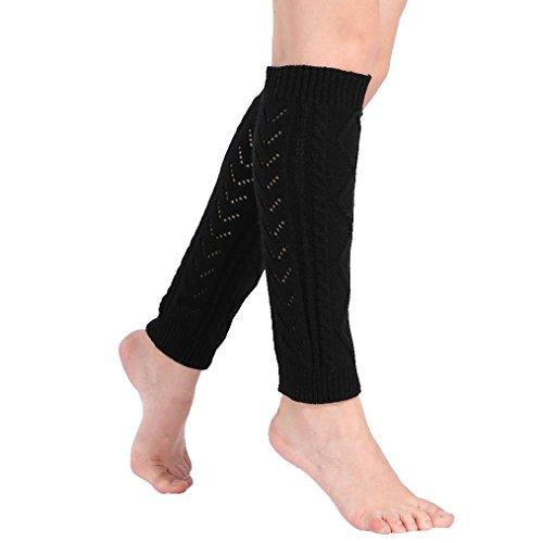 Price comparison product image Leg Warmers Socks, Boomboom Cheap Women Winter Leg Warmers Cable Knitted Crochet Long Socks (Black)