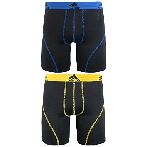 adidas Men's Sport Performance Climalite 9-Inch Midway Underwear (2-Pack), (Black/Prime Blue)/(Black/Yellow), Medium