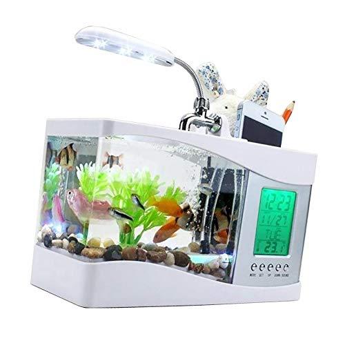 YaptheS USB Desktop Aquarium White with Water Tap Calendar Clock Table Electronic Aquarium Mini USB LCD Fish -