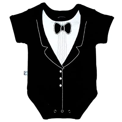 Frenchie Mini Couture Funny Baby One-Piece Bodysuit, Tuxedo