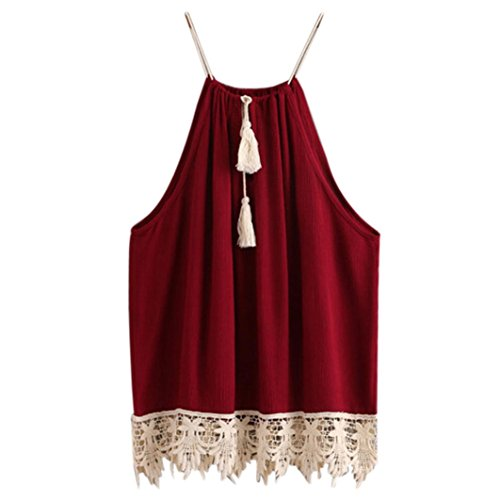 Kangma Women Sleeveless Sexy Lace Trimmed Tasselled Drawstring Blouse Shirt Camisole Tank Tops Wine (Leather Trimmed Silk Pants)