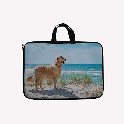 3D Printed Double Zipper Laptop Bag,a Sandy Dune Overlooking Tropical Beach Ocean,12 inch Canvas Waterproof Laptop Shoulder Bag Compatible with11.11.6