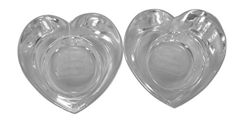Shaped Glass Tea Light Candle Holders, Set of 2 (Heart Shaped Tealight Holder)