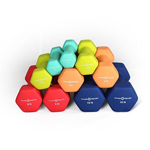 Fitness Republic Neoprene Dumbbell 5 Pairs Set (2lb,4lb,6lb,8lb & 10lb)