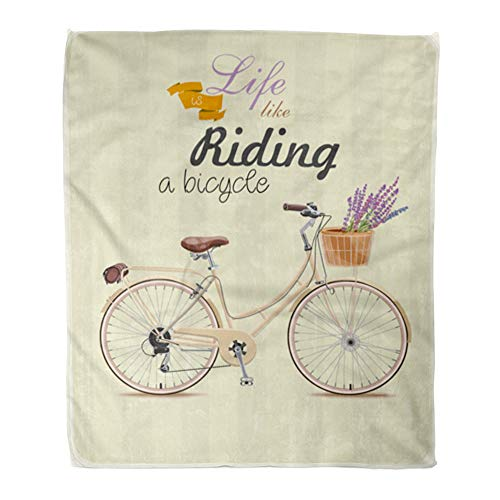 - Emvency Throw Blanket Warm Cozy Print Flannel Bike Bicycle with Lavender in Basket Vintage Style Retro Old Motor Steampunk Comfortable Soft for Bed Sofa and Couch 60x80 Inches