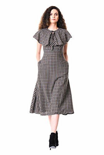 eShakti Women's Ruffle Cotton Twill Check Dress L-12 Regular Brown/Navy/Beige