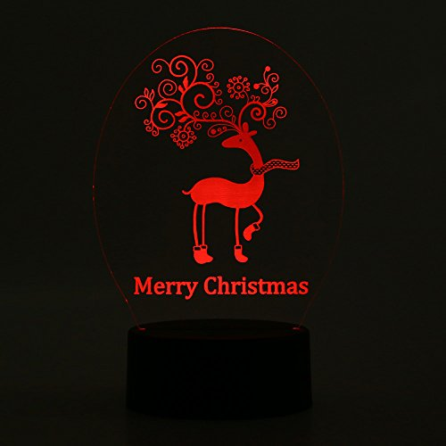 7.5' Action Figure (LED Lamp Light Reindeer Merry Christmas USB 7 Colors Changing Luminaria 3D Lights Action Figure MTS)