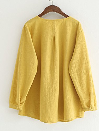 Chemisiers Rond T Jaune Blouses Col Shirt Mallimoda Femme Simple Plisse Chic 6CqOHH