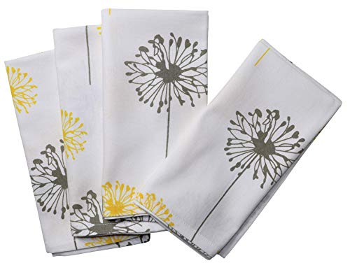 Crabtree Collection Deluxe Cotton Table Napkins, Bright Colors for Kitchens and Dining Rooms - (Yellow/Gray Dandelion Napkin Set)