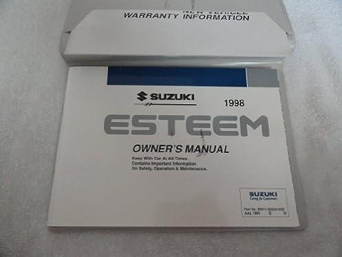 original 1998 suzuki esteem owners manual suzuki motor corporation rh amazon com singer esteem 1732 owners manual Corvette Owners Manual
