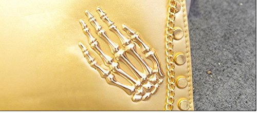 Siehin - Cartera de mano de Piel Sintética para mujer blanco blanco dorado