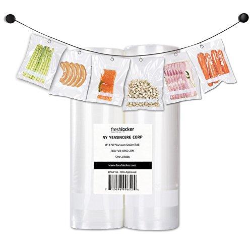 "Freshlocker 2 Rolls 11""×50′ Vacuum Sealer Bags 4 mil Embossed Commercial Grade food saver bags rolls for Food Preservation and Sous Vide"