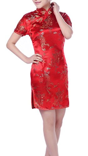 (YICHUN Women's Short Chinese Dress Qipao Cheongsam Brocade Slim Party Dress Red US10)
