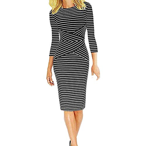 HYIRI ✈Three Quarter Sleeve Sweatshirt,Women's Striped Work Wear Business Cocktail Pencil Dress