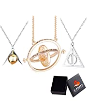 D-Fokes 3 PCS Wizard Necklace Set - Time Turner, Deathly Hallows, Golden Snitch Necklace for Hogwarts Fans Gifts Collection or Decorations Magical Cosplay Costume Jewelry Gift