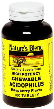 Flavor Chewable Raspberry - Nature's Blend Acidophilus Chewable Raspberry Flavor - 100 Tablets, Pack of 2