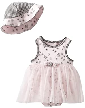 Baby-Girls Newborn Butterfly Toile Tutu Popover And Hat