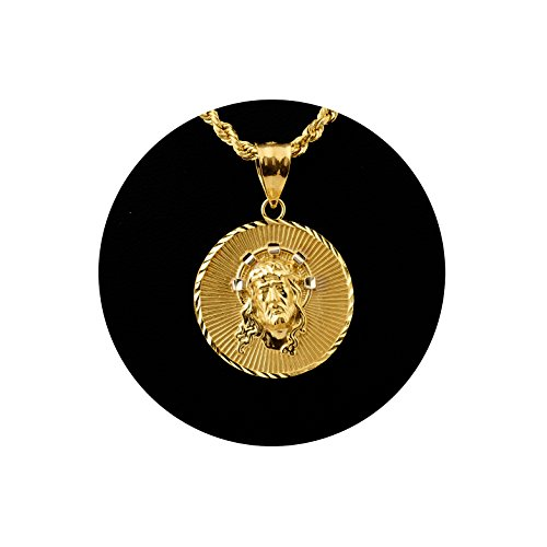 LoveBling 10K Yellow Gold Jesus Head Medallion Charm Pendant (1.26