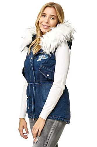 Gilet Bianco Cappotto Jeans D2520 Noname Giacca Cappuccio Donna Con Maniche Giubbotto Senza CzwwqPH