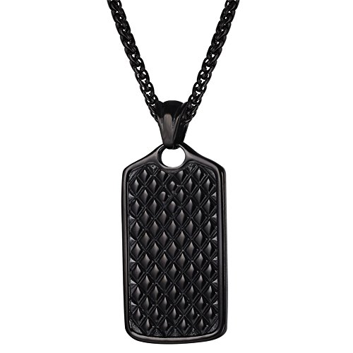 Designer Geometric Necklace (Men Cool Grid Tag Pendant Chain 22 Inch Black Gun Plated Geometric Pattern Necklace (black-gun-plated))