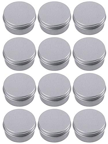 Hulless Aluminum Tin Jars 0.5oz Refillable Containers 15ml, Cosmetic Small tins, Aluminum Screw Lid Round Tin Container Bottle for Candle, Lip Balm, Salve, Eye Shadow, Powder, Small Ounce 12 Pack. ()