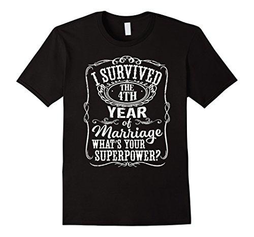 Mens Anniversary Gift 4th - 4 years Wedding Marriage T-Shirt 3XL Black