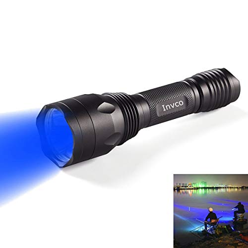 Fishing Hunting Blue light flashlight, Blue Light Hunting Torch 256 Yard 470 nm Wavelength Professional Blue Beam Flashlight