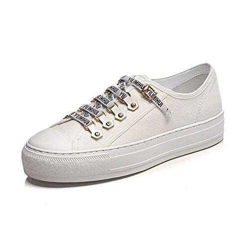 Zapatos de lona de las mujeres Zapatos de las muchachas de las mujeres Lazo casual Low Top Gym plano Zapatillas de deporte ligeras Zapatillas de deporte de las señoras Zapatos de lona ( Color : Negro Blanco