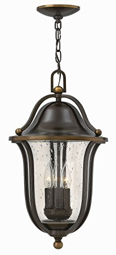 Hinkley 2642OB Bolla - Three Light Outdoor Hanging Lantern, Olde Bronze Finish with Clear Seedy Glass