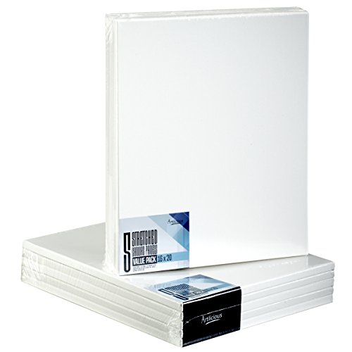 Artlicious - Super Value 5 Pack - 16x20 Pre-Stretched Cotton Canvas Panel Boards - Use with All Acrylics, Oils and...