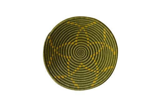 African Gift Shop| Rwanda Basket Bowl | Designer Green Color Fruit Basket Bowl | Size 12inches | Handcrafted Weaved Basket Bowl| Woven Bowl|Sisal & Sweetgrass Basket | Round Basket (Bronze Olive) ()
