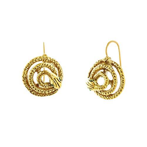 Steve Madden Women's Snake Design Fish Hook Yellow Gold-Tone Earrings