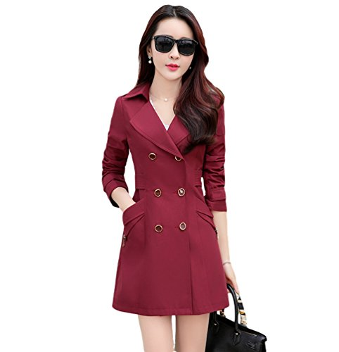 YuanDian Femmes Printemps Automne Casual Mi Long Double Boutonnage Blazer Trench Coat Slim Fit lgant Business Revers Dames Tailleur Trench Manteau Veste Bourgogne
