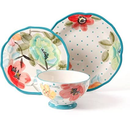 The Pioneer Woman The Pioneer Woman Vintage Bloom 12-Piece Decorated Dinnerware Set