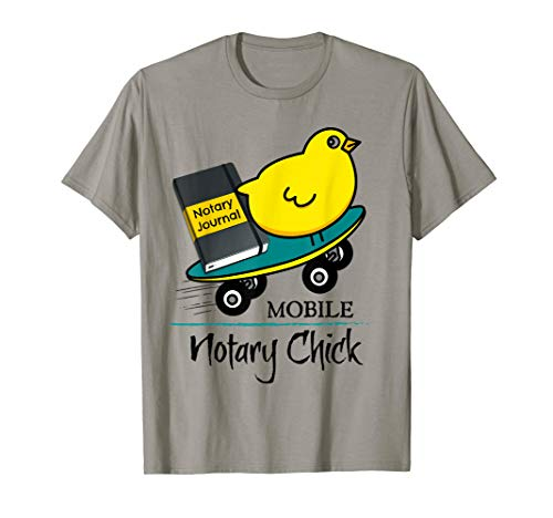 Mobile Notary Chick Skateboard in Motion with Notarial Journal T-Shirt