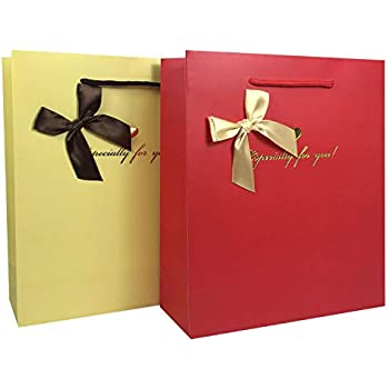 1db70c9682c7 Premium Paper Gift Bags for Presents - Reusable 16 Pcs Set with Cotton Rope  Handles & Bow Ribbon Suitable for Any Occasion, Showers, Wedding, Birthday,  ...
